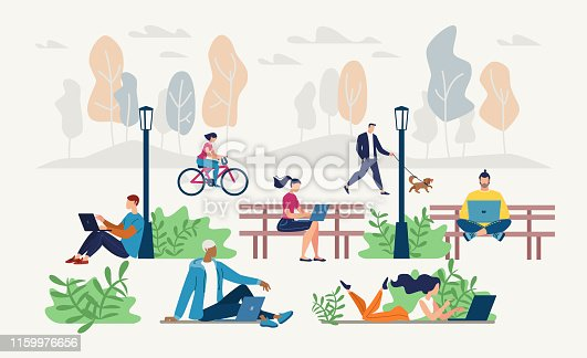 Internet Public Access Point in City Park Flat Vector Concept. Young People Sitting on Bench or Lawn, Distant Working on Laptop, Networking, Messaging Online, Communicating with Friends Illustration