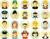 People occupation characters avatars set in flat style
