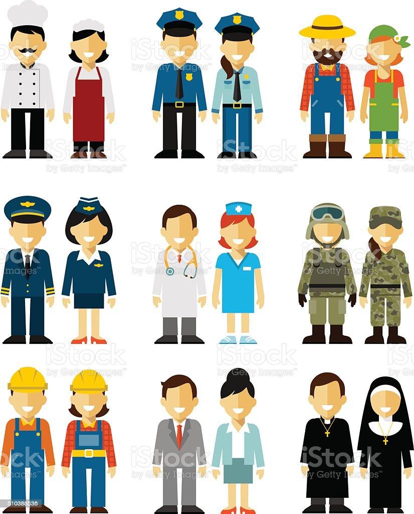 Menschen Beruf Zeichen, Mann und Frau in flachen Stil – Vektorgrafik