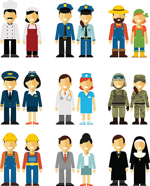 People occupation characters man and woman set in flat style Different people professions characters isolated on white background military uniform stock illustrations