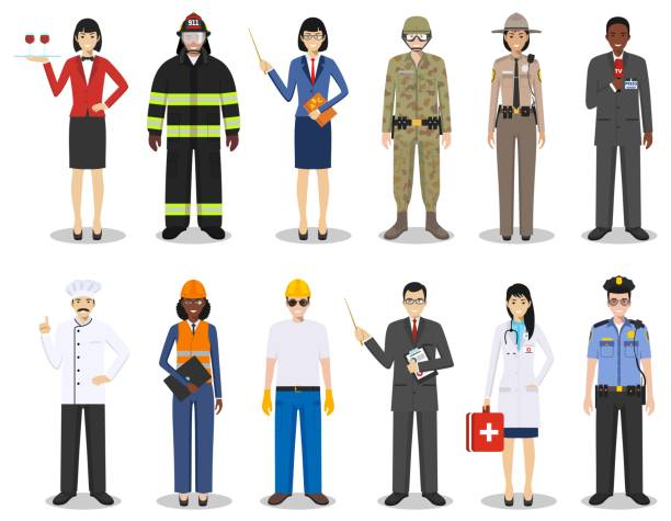 People occupation characters set in flat style isolated on white background. Different men and women professions characters standing together. Templates for infographic, sites, banners, social networks. Vector illustration. People occupation characters set in flat style isolated on white background. Flat vector icons on white background. Templates for infographic, sites, banners, social networks. Vector illustration. cooking clipart stock illustrations