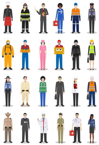 Personajes de ocupación de personas encuentra en estilo plano aislado sobre fondo blanco. Diferentes hombres y mujeres profesiones caracteres Unidos. Plantillas para sitios, infografía, redes sociales. Vector de - ilustración de arte vectorial