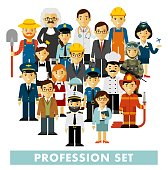 Different people professions characters standing together.