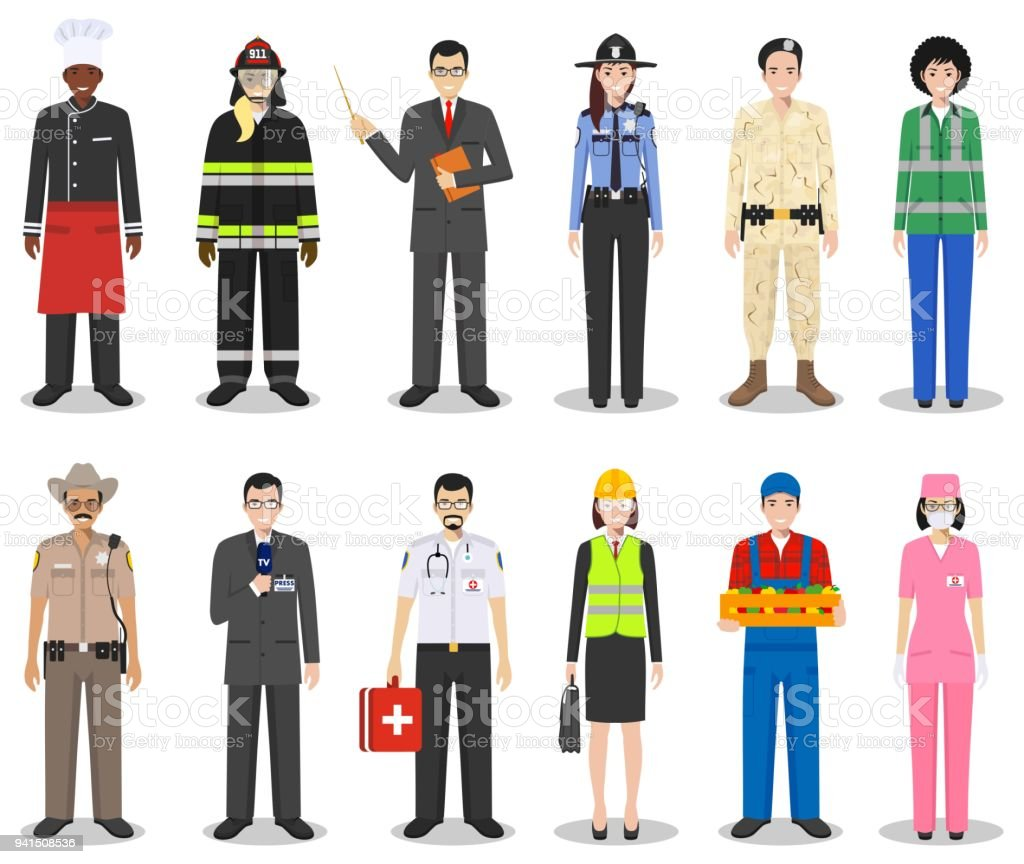 People occupation characters set in flat style isolated on white background. Different men and women professions characters standing together. Templates for infographic, sites, social networks. Vector vector art illustration