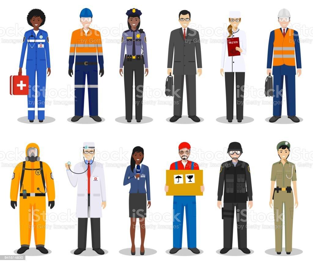 人々 の職業のキャラクターは白い背景で隔離のフラット スタイルに設定し
