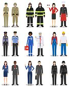 People occupation characters set in flat style isolated on white background. Different men and women professions characters standing together. Templates for infographic, sites, social networks. Vector