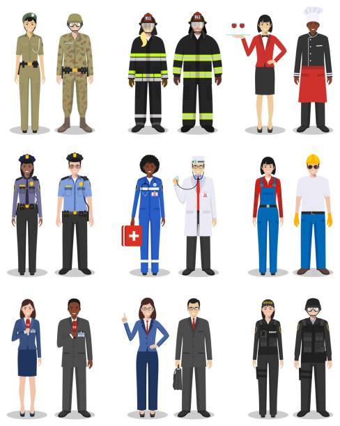 illustrazioni stock, clip art, cartoni animati e icone di tendenza di people occupation characters set in flat style isolated on white background. different men and women professions characters standing together. templates for infographic, sites, social networks. vector - polizia