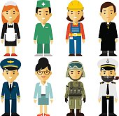 People occupation characters set in flat style