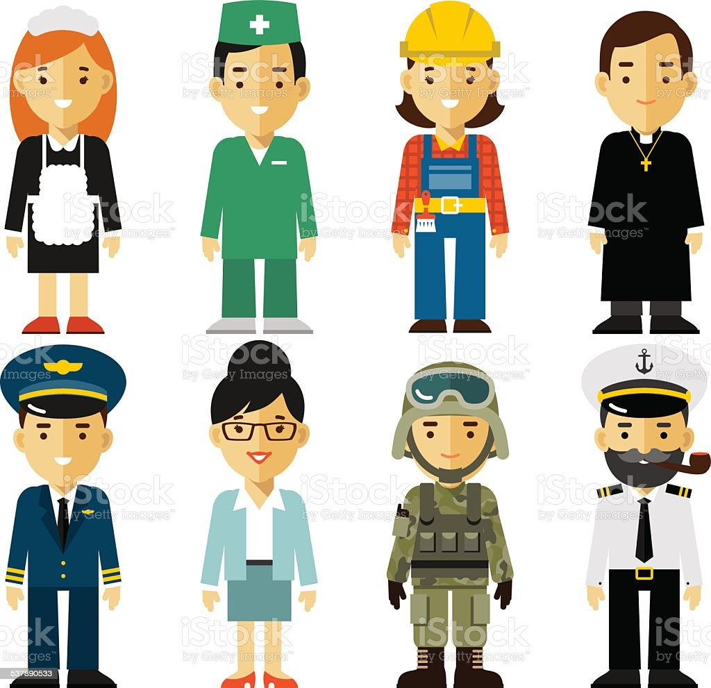 People occupation characters set in flat style vector art illustration