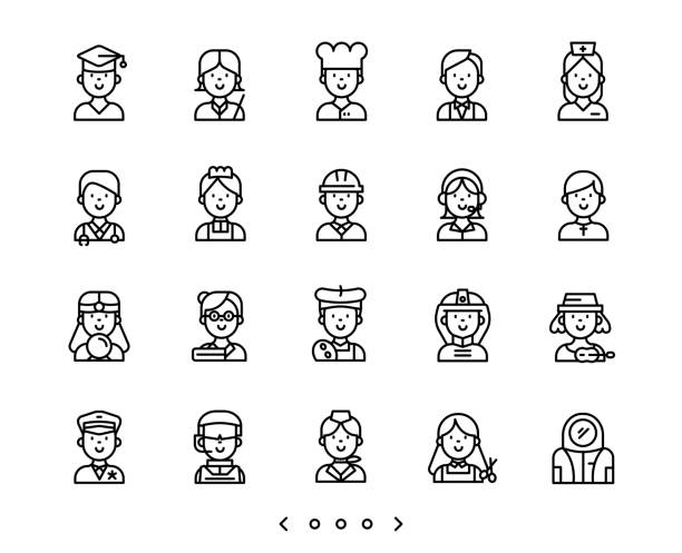 people occupation line icon set people occupation line icon set vector police interview stock illustrations