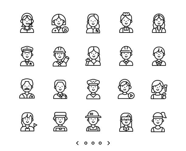 people occupation line icons set people occupation line icons set vector police interview stock illustrations
