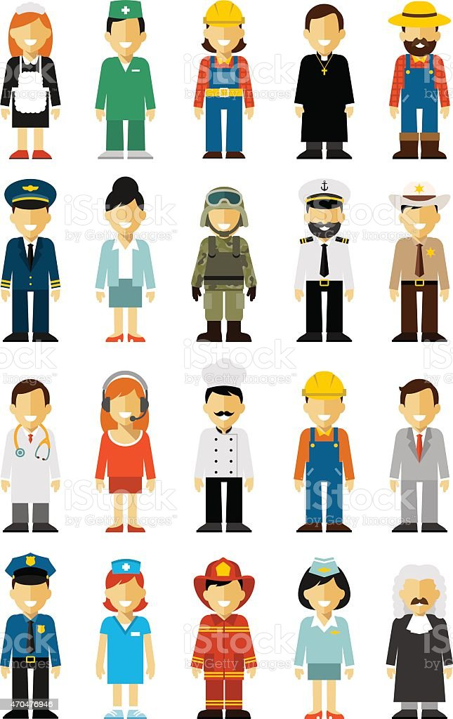 People occupation set in flat style isolated on white background vector art illustration