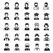 People occupations icons, Set of 25 editable filled, Simple clearly defined shapes in one color.
