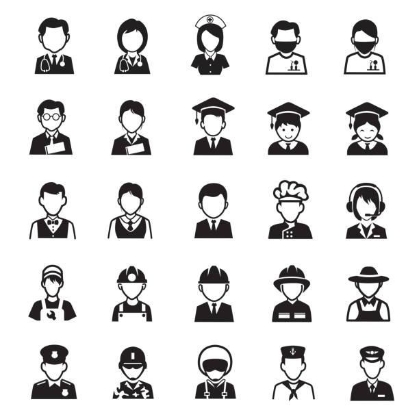 人の職業アイコン - 背景に人点のイラスト素材/クリップアート素材/マンガ素材/アイコン素材