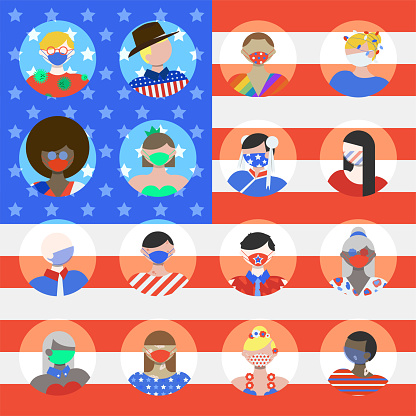 People of America Avatar Icons in Wearing Face Masks