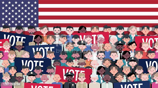 Stylized Citizens of All Race, Age and Occupation of America Standing Together Holding Voting Tickets As Banners With US Flag in Background. Vector Illustration.