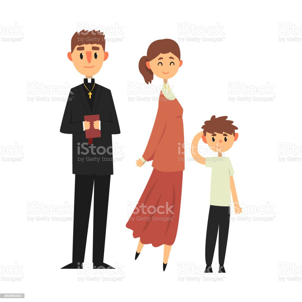 People Of Catholic Religion In Traditional Clothes Family Of A