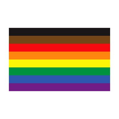 People of Color Inclusive Pride Flag on Transparent Background