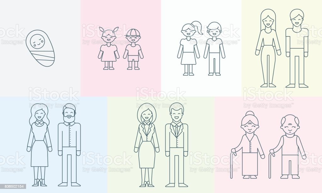 People of different ages vector illustration for infographic vector art illustration