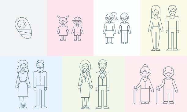 People of different ages vector illustration for infographic People of different ages vector illustration for infographic teenage boys stock illustrations