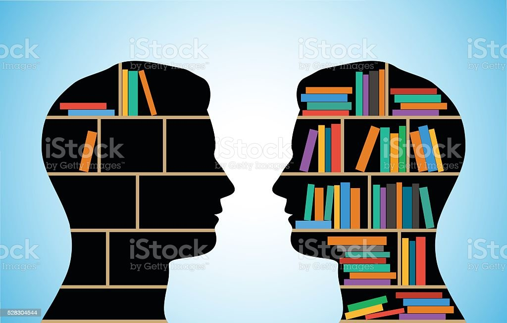 People of Different Intellectual Level Head Library with Various Books.  Adult stock vector