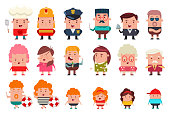 People occupation characters vector cartoon flat set.