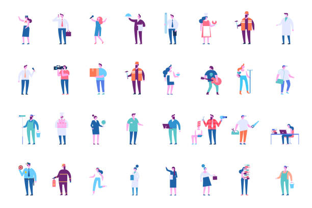 menschen in verschiedenen berufen großen vektor-set - oberhaus stock-grafiken, -clipart, -cartoons und -symbole