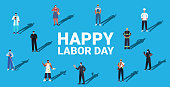 people of different occupations celebrating labor day mix race workers wearing masks to prevent coronavirus pandemic full length horizontal isometric vector illustration