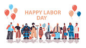 people of different occupations celebrating labor day mix race workers wearing masks to prevent coronavirus pandemic lettering greeting card horizontal full length copy space vector illustration