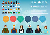 People of different occupations. Professions set with infographic elements. International Labor Day. Vector illustration