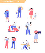 People of different occupations. Professions. Courier, painter, teacher, businessman, teacher, operator, presenter, programmer, doctor. Flat vector characters