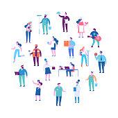 Courier, painter, teacher, fireman, businessman, teacher, chef, presenter, programmer, sportsman, hairdresser. Flat vector characters