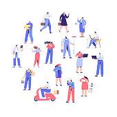 Professions. Courier, painter, teacher, businessman, teacher, operator, presenter, programmer, doctor. Flat vector characters