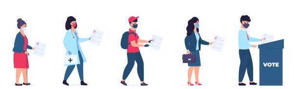 ilustraciones, imágenes clip art, dibujos animados e iconos de stock de personas de diferentes profesiones y categorías sociales en máscaras protectoras votan en las urnas - polling place