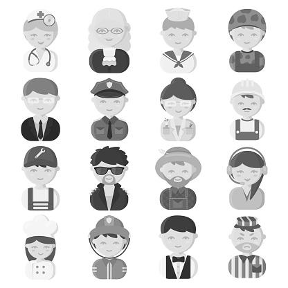디자인에 대 한 설정된 컬렉션에 다른 직업 흑백 아이콘의 사람들 노동자와 전문 기호 재고 웹 일러스트 벡터 경찰관에 대한 스톡 벡터 아트 및 기타 이미지