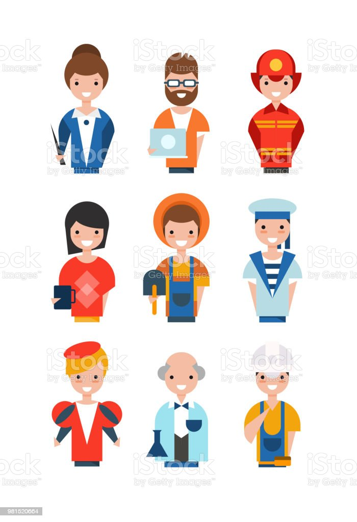 People of different professions set, working people avatars, teacher,...