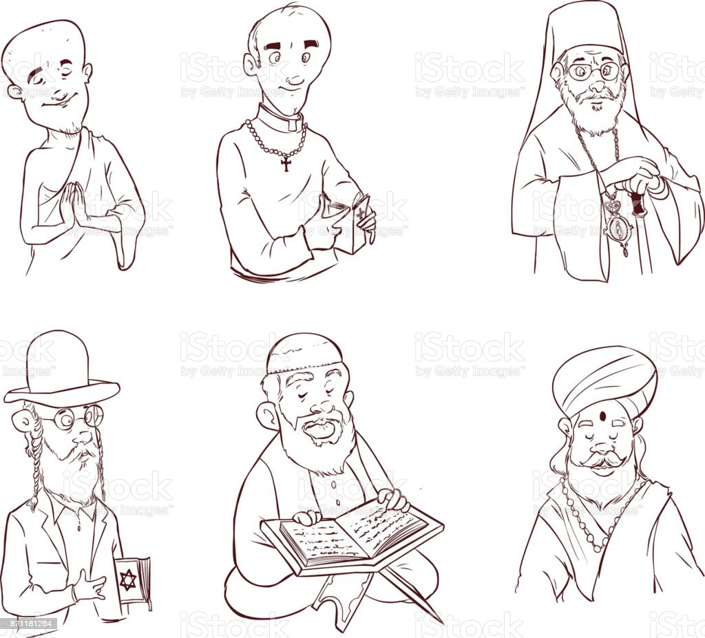 People of different religion in traditional clothing. Islam, judaism, buddhism, orthodox, catholic, hinduism illustration vector art illustration