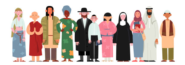 People of different religions and cultures as well as different skin colors standing together on white background. People of different religions and cultures as well as different skin colors standing together on white background. Happy people wearing various national and religious clothing. religion stock illustrations