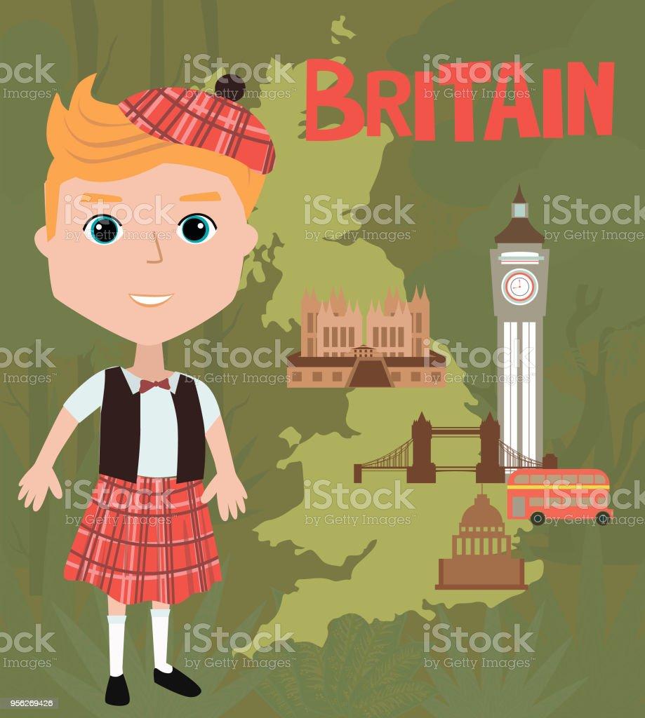 Sehenswürdigkeiten Großbritannien Karte.Menschen In Der Weltplakat Großbritanniencharakter In Trachten Und