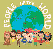 People of the world poster. Characters in different national costumes, nationalities of the world poster. Editable vector illustration