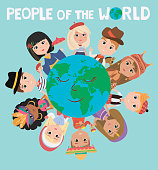 People of the world poster. Characters in different national costumes, nationalities of the world poster