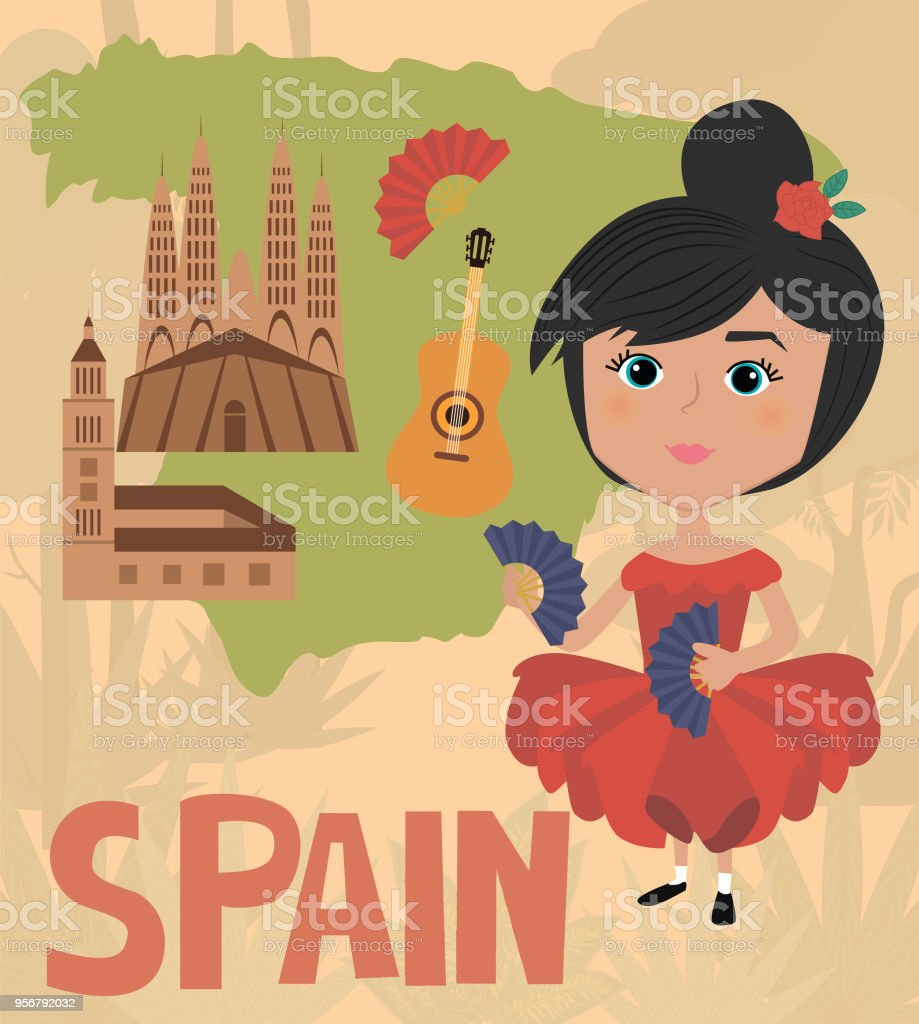 Map Of Spain Landmarks.People Of The World Poster Spain Character In National Costumes And