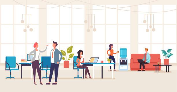 ilustrações de stock, clip art, desenhos animados e ícones de people office workers characters talking and working. office life interior concept. vector flat graphic design illustration - só adultos
