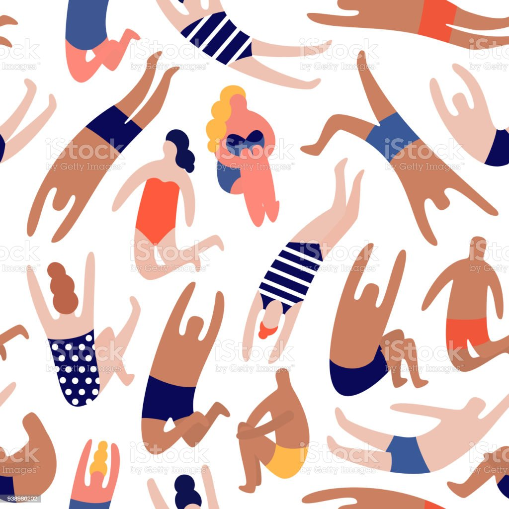 People on a beach. Seamless vector pattern royalty-free people on a beach seamless vector pattern stock illustration - download image now