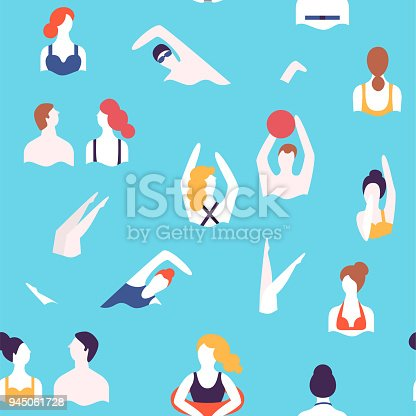 People on a beach. Swimming and playing in the water. Summer rest vacation. Seamless vector pattern