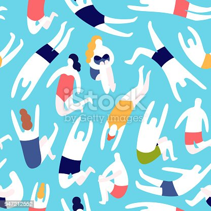 People on a beach. Swim jumping into the water. Summer rest vacation. Seamless vector pattern