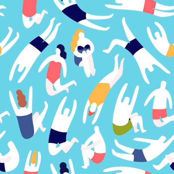 ilustrações de stock, clip art, desenhos animados e ícones de people on a beach. seamless vector pattern - jump pool, swimmer