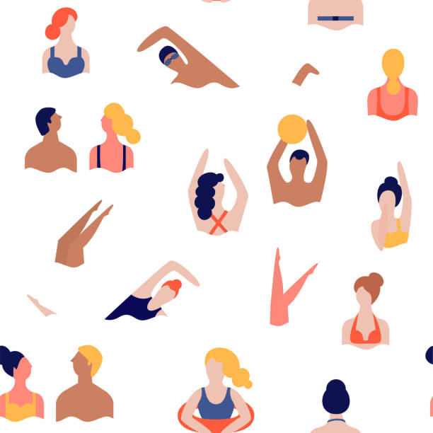 People on a beach. Seamless vector pattern vector art illustration