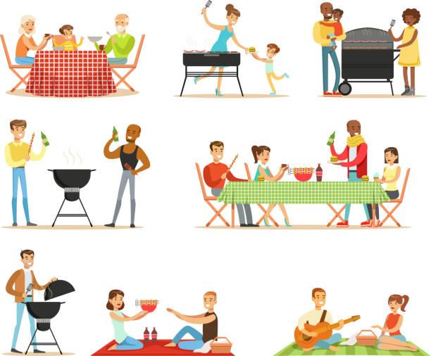 ilustraciones, imágenes clip art, dibujos animados e iconos de stock de personas en bbq picnic al aire libre comer y cocinar carne a la parrilla en parrilla de barbacoa eléctrica conjunto de escenas - couple lunch outdoors
