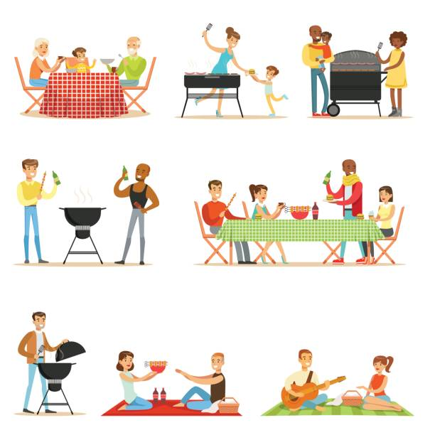 Royalty free family picnic clip art vector images illustrations people on bbq picnic outdoors eating and cooking grilled meat on electric barbecue grill set of thecheapjerseys Image collections